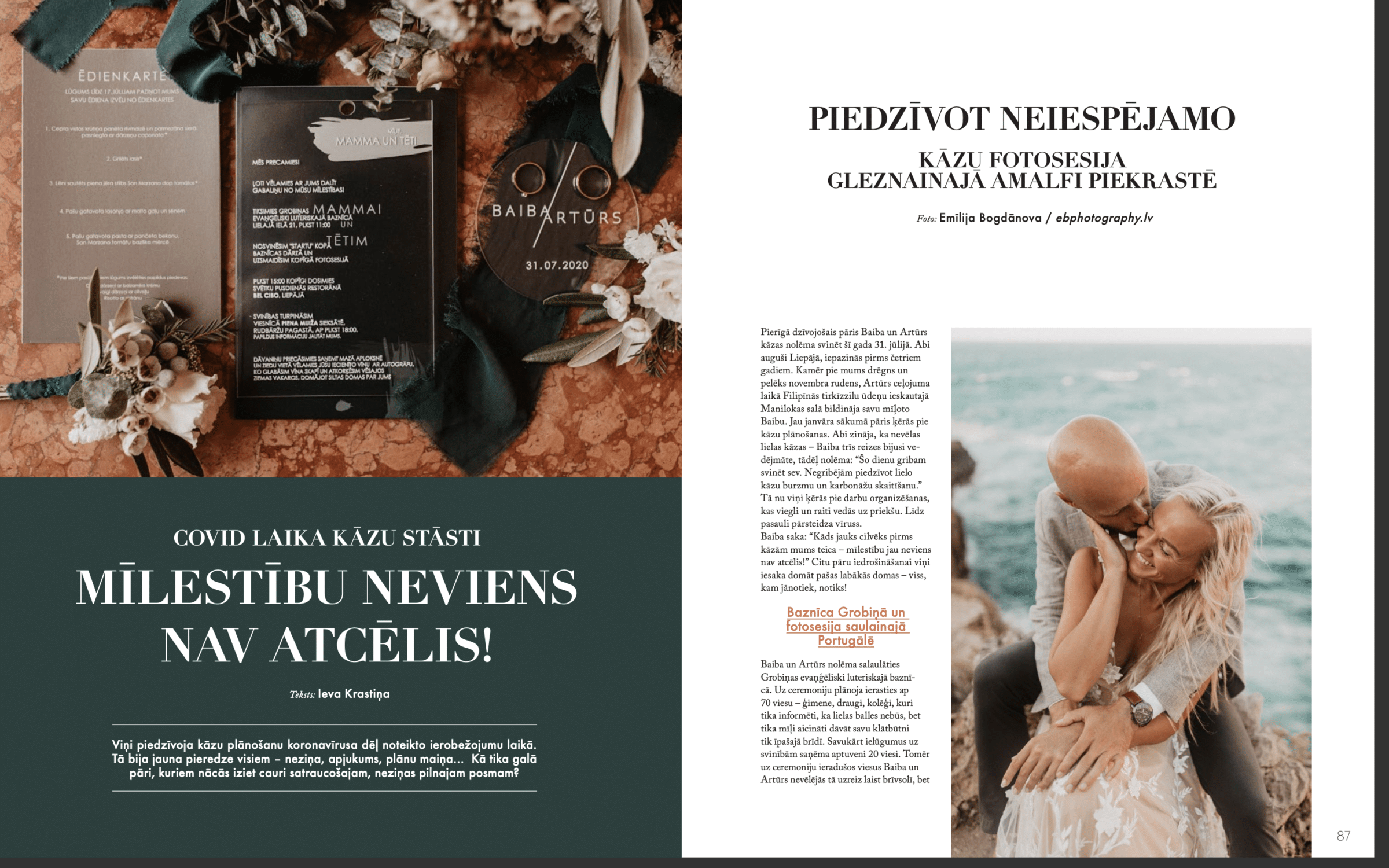 Wedding Story of Amelii Bride in LĪGAVĀM Magazine issue No. 9