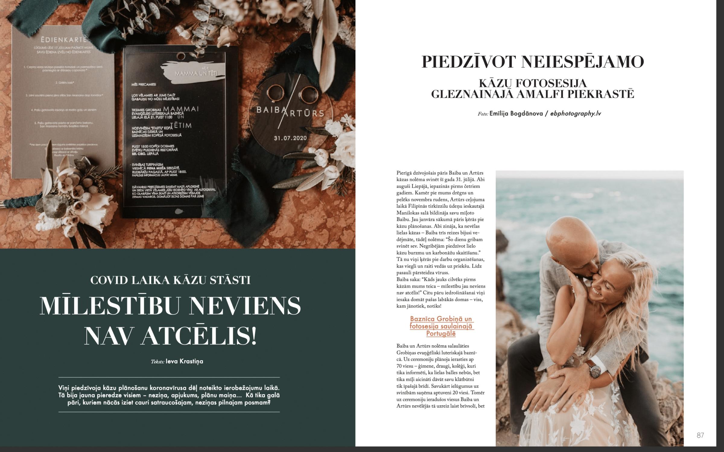 Wedding Story of Amelii Bride in LĪGAVĀM Magazine issue No. 9