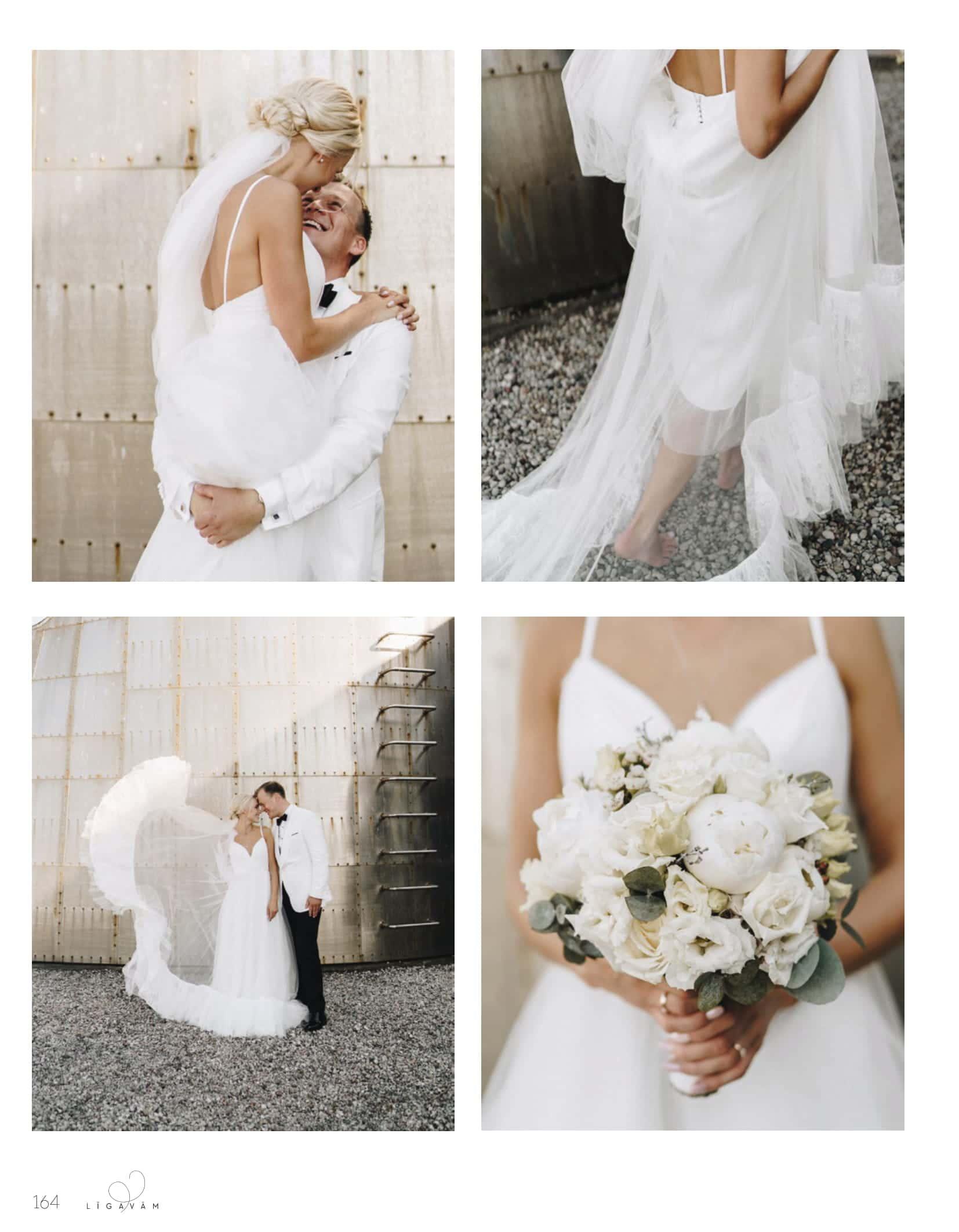 Wedding of Leperi and Martins Kapzems with his beloved Julija in LĪGAVĀM Magazine / Amelii dresses
